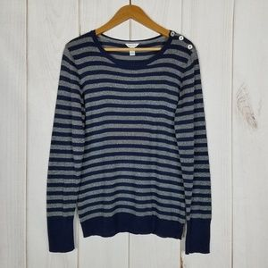 Nautica   Preppie Blue Gray Stripe Sweater